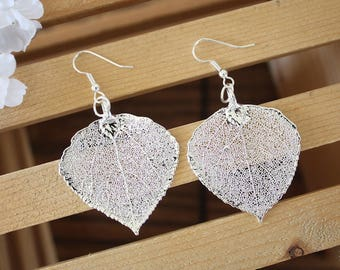 Aspen Silver Leaf Earrings, Large Aspen Leaf , Real Leaf Earrings, Real Silver Aspen Leaf, Sterling Silver, Nature, LEP54