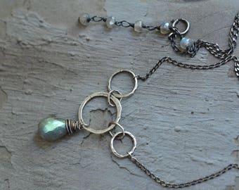 Sterling Silver Labradorite Necklace - Oxidized Sterling Silver Necklace - Hammered Link Necklace - Rustic Necklace - Dreamy Necklace