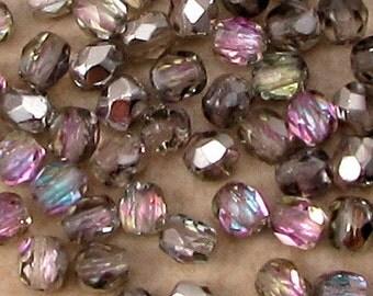 Czech Glass Beads, Firepolished Round, 4 mm, Vitrail Light, 50 Pc. C515