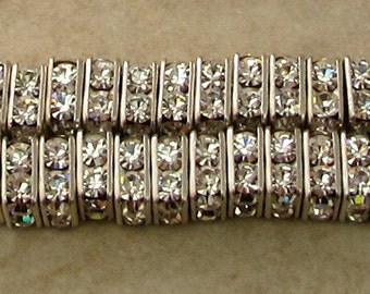 Square Rhinestone Spacer, 8 mm, Crystal Antique Silver, 6 Pc. C422