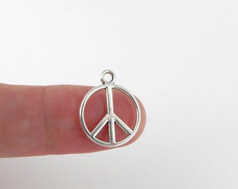 20 Peace Sign Charms in Antique Silver  - 17mm x 14mm