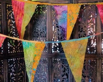 Gypsy Patchwork Batik Supersized Flag Garland 12+ Feet  (3.66 m) long with UV protection