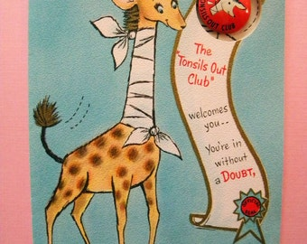 Vintage Unused Tonsils Out Club Greeting Card with Pin Back Button and Giraffe