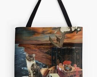 Tote Bag - Capricorn StarCat - zodiac astrological collage art - cat lover gift, December January birthday