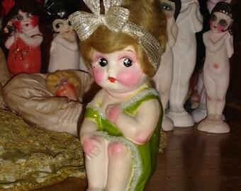 Vintage Large Paper Mache Carnival Kewpie Doll Slightly Enhanced Blonde / Green