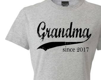 Grandma since ANY year, screen print t-shirt, personalized tshirt, grandmother gift, new grandma gift, graphic tee