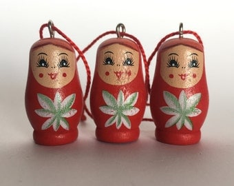RED Wooden MATRYOSHKA Russian Nesting Doll  Christmas Ornaments