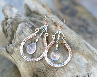 Pink Rose Quartz,Pearl, Peach Moonstone Gemstone Wire Wrapped Earrings, 14KT Rose Gold Filled Earrings, Chandelier Earrings, Multi Gemstone