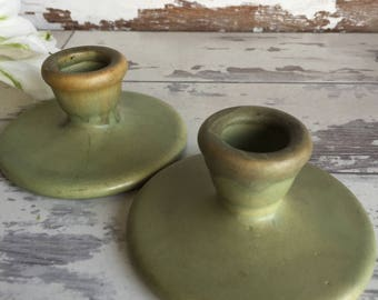 Roseville Carnelian Candlesticks Candle Holders - Art Pottery c. 1900s Green Matte Glaze - Beautiful!