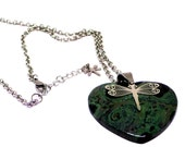 """Green Black Kambaba Jasper Heart Pendant Necklace, 20"""" Stainless Chain, Stainless Steel Dragon Fly Charm, Mothers Day Womens Jewelry, Earthy"""