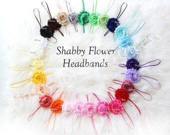 NEW U Pick 6 Gorgeous Flower Shabby Chic Elastic Stretch Toddler Headband- perfect for infants, newborn, baby, girls, photography prop