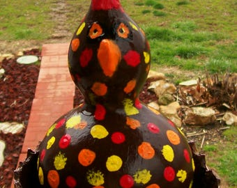 Chicken Pot Pie -  Hand Painted Gourd Ornament