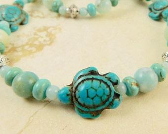 Aqua Blue Sea Turtle Necklace