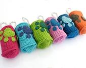 Crochet dog poop bag holder,crochet dog poop bag dispenser,poo bag holder,dog paw,dog pawprint,dog accessories,pet accessories