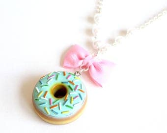 Pastel Donut Necklace, Large Doughnut Pendant Necklace, Kawaii Necklace, Polymer Clay Miniature Food Jewelry