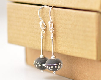 Black Earrings | Lampwork Glass Earrings with Sterling Silver | Glass Drop Earrings | Giftwrapped UK
