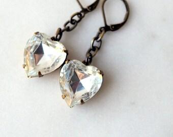 Rhinestone Heart Earrings / Crystal Clear Rhinestone Earrings / Vintage Earrings /Romantic Earrings to Say I Love You / Large Hearts