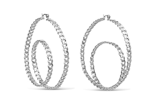 Chain Hoop Earring | Chain Swirl Hoop Earring | Sterling Silver Chain Hoop Earrings | Round Chain Earrings