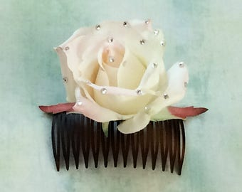 Sparkle rose hair comb