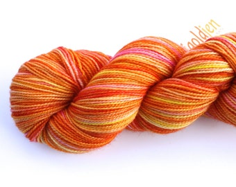 Orange You Sweet--hand dyed sock yarn, 2ply merino and nylon, (400yds/100gm)