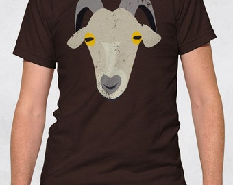 Men's Tee - Old Goat Shirt - Size XS-S-M-L-XL-2XL-3XL - Guys Graphic Tee Farm Animal Face Tshirt Horns Dad Grandpa Father's Day Retirement