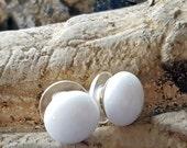 White Stud Earrings, Sterling Silver Posts, Fused Glass Jewelry,  Minimalist Jewelry, Simple Earrings, White Earrings, Handmade in USA