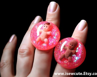 Funny Baby Gift for New Mom, Baby Girl, Big Resin Ring, Pink Glitter Novelty Gift for Her, New Mom Push Present, Funny Gag Gift for New Mom