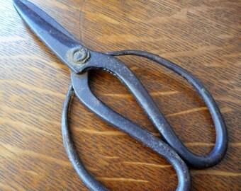 VINTAGE Large Loop Handle Hand Forged Metal Scissors