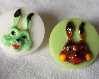 Set of 2 VINTAGE Painted Rabbit Bunny Heads on Glass BUTTONS