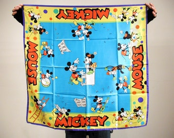 Rare 80s NOS Wendy Gell Disney Art Scarf, Disney Collectible Scarves, Silk Disney Scarf, Designer Mickey Mouse Scarf, Mickey & Minnie Scarf
