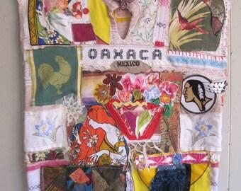 oaxaca mexico Woven SERAPE COLLAGE TUNIC   - Colorful Wearable Fabric Folk Art - Vintage Textile Linens  Applique -  myBonny random scraps