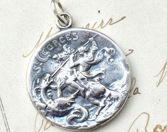 Beautiful St George Medal - Patron of horseback riders, skin diseases, and England - Antique Reproduction
