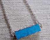 Turquoise Bar Necklace, Horizontal Bar, Turquoise Pendant, Long, Silver Edge, Modern Necklace, Layering Necklace, Gardendiva