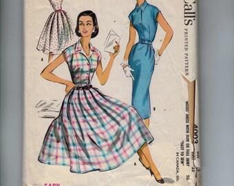 1950s Vintage Sewing Pattern McCalls 4003 Misses Slim or Full Skirt Shirtwaist Dress Size 12 Bust 32 50s 1957