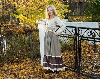 PHEASANT LINEN DRESS - Boho Hippie Bohemian Corset Long sleeve Shabby chic Mori Wedding Bride Folk Dance Vintage look - Beige brown