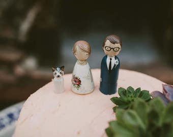 Wedding Cake Toppers with Cat // Peg Dolls Custom Wedding Cake Topper // Goose Grease // Wooden Dolls // Cake Toppers // Custom Portrait
