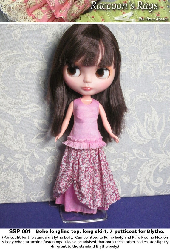 STRAIGHTFORWARD SEWING Pattern- SSP-001: Boho skirt, petticoat, and top with optional ruffle trim for Blythe, Pullip, Pure Neemo Flexion S.