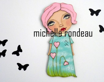 Original Wooden Doll Pink Hair Whimsical Girl Painting