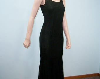 1920s 1930s Mermaid Gown. Vintage Black Lace & Chiffon Dress . Classic Silhouette