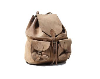 Vintage Sandy Cove Tan Leather Backpack