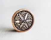 Black Gold Flower Design 18mm Czech Glass Button