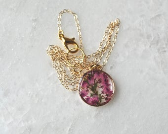 Gold Heather Necklace Pressed Flower Jewelry Botanical Jewelry Bridal Jewelry