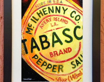 """Tabasco Hot Sauce Art """"Tabasco Sauce"""" Framed and Matted Prints Signed and Numbered (Three Sizes to Choose From)"""