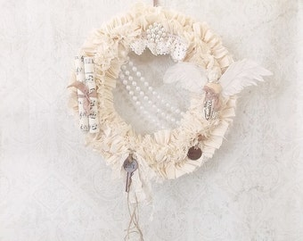 Shabby Romantic Chic Tattered and Ruffled Vintage Assemblage Cream Wreath