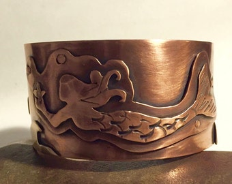 Mermaid Wide Cuff Bracelet - Mixed Metal - Copper - Brass - Ocean Jewelry - Beach Jewelry - Mermaid Jewelry