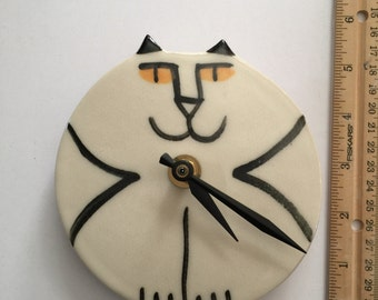 Wall decor clock: gold eyed Kitty Cat decor handmade white black whimsical feline theme designer kitty Pottery Pet resort veterinary art