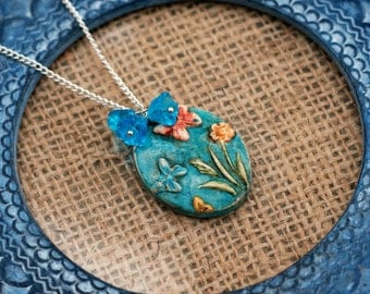 Blue Flower Butterfly Necklace, Flower Necklace, Butterfly Pendant, Gardeners Gift