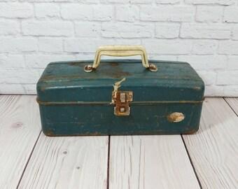 Vintage Rustic Green Metal Industrial Tackle Box Tool Box