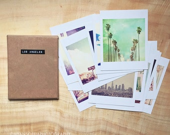 Los Angeles photography, mini print set, Los Angeles gifts, Hollywood, downtown LA, Santa Monica beach, California, 16 prints, I Love LA