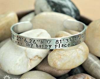 My Happy Place Disneyworld Coordinates Cuff Bracelet - Disneyworld GPS Longitude Latitude Coordinates - Disneyholic Gift - Unisex